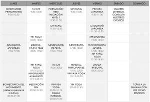 calendario actividades de marzo Ocho Sentidos